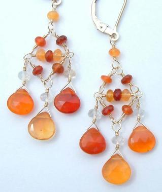 Mexican fire opal chandelier earrings mozeypictures Images